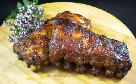 Travers de porc ou spare ribs caramélisés au miel