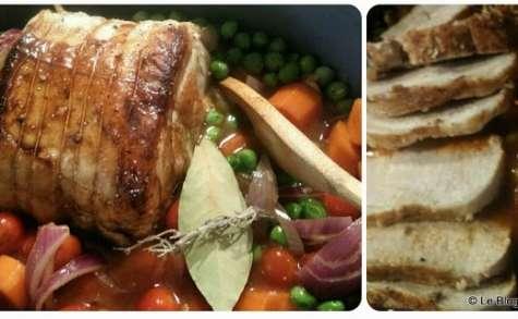 Rôti de porc aux legumes et vinaigre balsamique