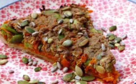 Tarte aux carottes, aux fèves et au cumin