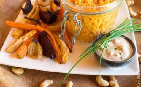 Salade de légumes rôtis, sauce cajou et couscous du soleil