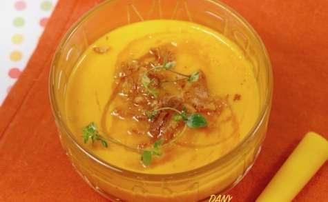 Soupe froide carottes melon aux oignons frits