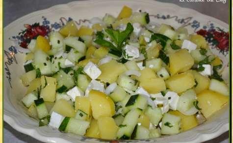 Salade de pommes de terre, concombre noa et feta