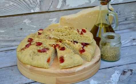 Focaccia poivrons, parmesan et origan