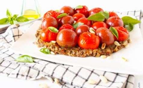 Tarte aux tomates cerises et flocons avoine-sarrasin