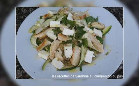 Salade fraîcheur poulet quinoa menthe tagliatelle de courgette