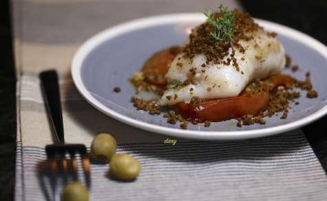 Cabillaud cuit lentement et olives séchées