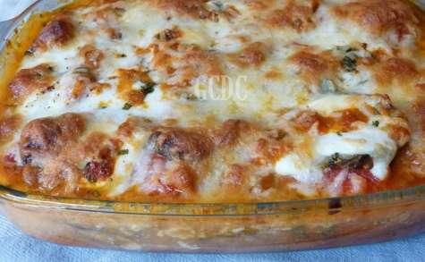 Gratin d'aubergine tomate roma et mozzarella