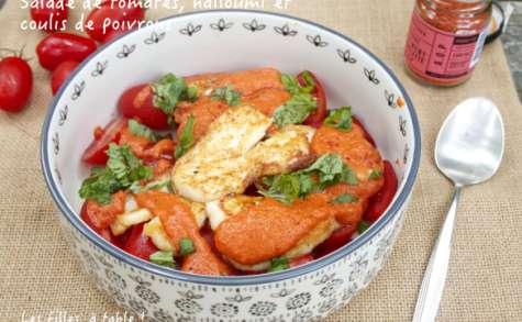 Salade de tomates au halloumi et coulis de poivrons