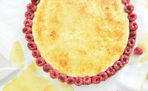Tarte framboises et crème brûlée