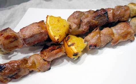 Brochettes de canard orange gingembre