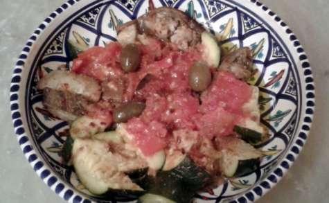 Aubergines et courgettes rôties à l'ail, en salade au carvi