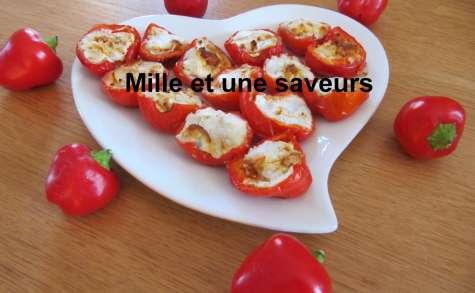 Mini poivrons farcis au fromage de chèvre et chorizo