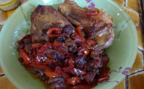 Poulet aux poivrons et tomates