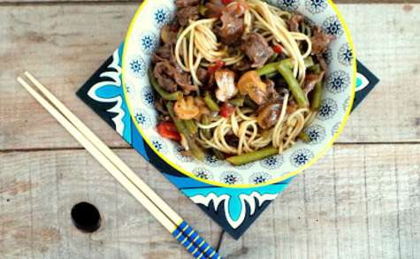 Poêlée asiatique (ou presque) au bœuf, poivrons, haricots verts et champignons