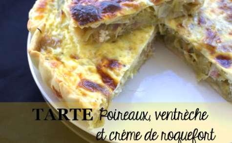 Tarte Poireaux, ventrèche et crème de Roquefort