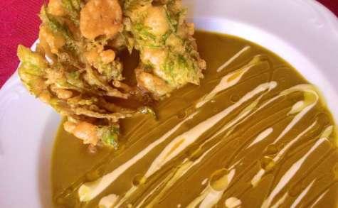 Velouté aux fanes de carottes et son tempura