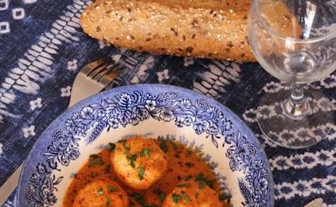 Boulettes poisson et gambas et sa sauce curry