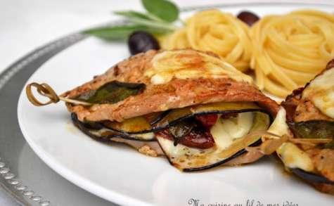 Escalopes de veau farcies aux aubergines, mozzarella, tomates séchées et sauge
