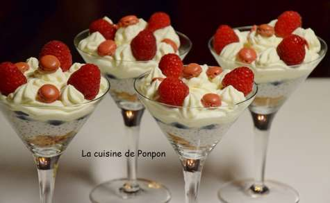 Crème de graines de chia au lait de coco, framboises et myrtilles