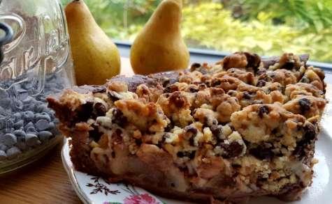 Tarte crumble aux poires épicées et au chocolat