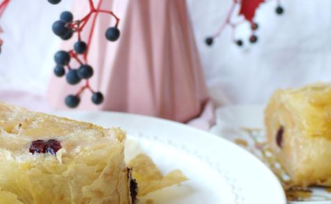Strudel aux coings, chocolat blanc et cranberries