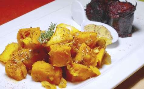 Boudin noir aux pommes et courge bleue de Hongrie
