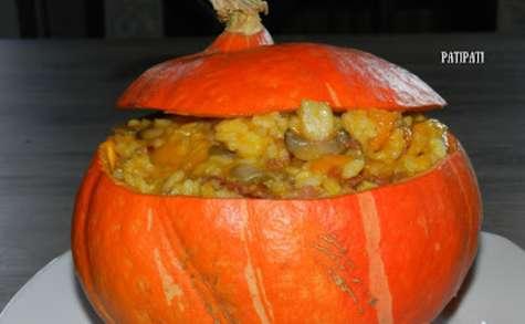 Potimarron farci aux risotto champignons et lardons