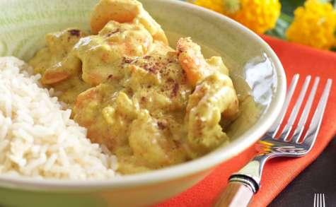 Curry de crevettes, lait coco et banane