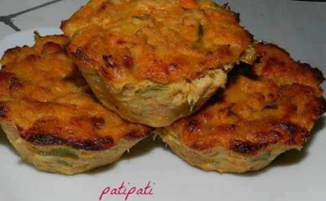 Muffins aux deux poissons-scampis et poireaux
