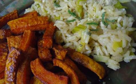 Risotto vegan au poireau et à la butternut