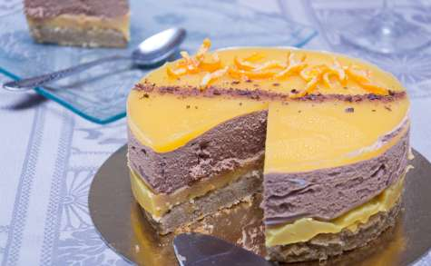 Entremet orange, chocolat et pain d'épices