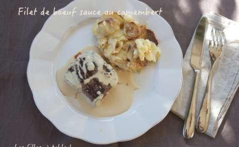 Filet de boeuf, sauce au camembert et gratin aux deux pommes