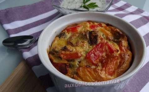 Flan aux légumes du soleil grillés et sa sauce yaourt aux herbes