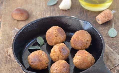 Boulettes de seitan à la châtaigne, ail et sauge