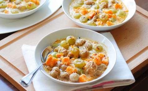 Gratin de patate douce, châtaignes et raisins blancs au lait de coco