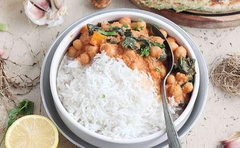 Curry de pois chiches et épinard , Paratha à la ciboule