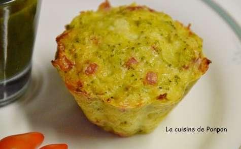 Muffin aux brocolis et saucisson