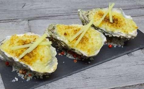 Huîtres gratinées, poireaux, gingembre et wasabi