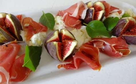 Figues au jambon et mozzarella di bufala de Jamie Oliver