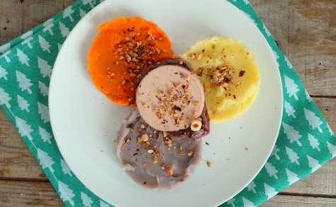 Tournedos de bœuf aux 3 purées et foie gras
