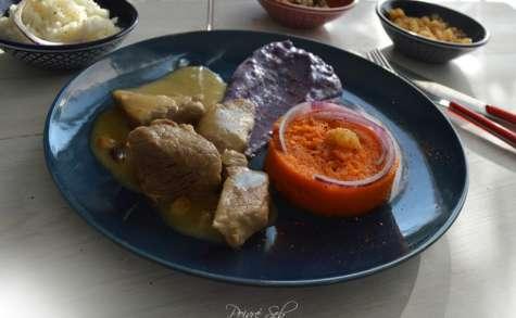 Sauté de porc sauce épicée et douceurs carottes, prunelles