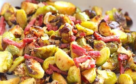 Choux de Bruxelles rôtis au bacon et parmesan
