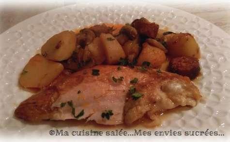 Poulet aux pommes de terre - champignons - chorizo