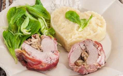 Filet mignon de porc fourré aux cèpes, purée de céleri