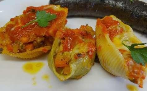 Conchiglioni farcis aux légumes, au poivre de fenouil