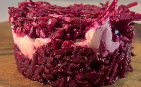 Tarte de betterave et choux rouge au chèvre