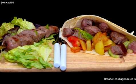 Brochettes d'agneau aux légumes
