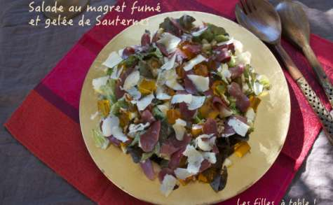 Salade au magret fumé et gelée de Sauternes