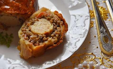 Wellington de boudin blanc lardé, champignons et morilles