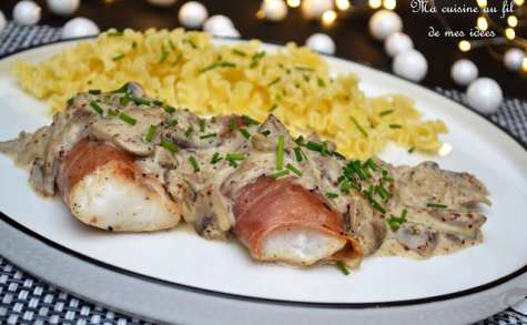 Dos d'églefin au jambon de Bayonne, sauce aux champignons de Paris et moutarde à l'ancienne